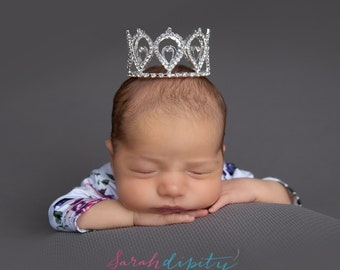 Newborn SILVER Rhinestone Crown for newborn, toddler, preteen or maternity photo shoots, cake topper, bebe, infant, by Lil Miss Sweet Pea