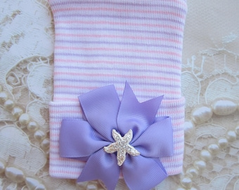 Lavender, Pink and White Newborn Hospital Hat, with pinwheel bow and starfish center, beenie, infant, baby hat, Lil Miss Sweet Pea Boutique
