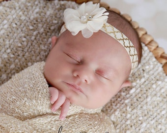 Headband of Sparkle Chiffon makes this 2 inch ivory flower on gold soft stretch elastic just perfect for a newborn, by Lil Miss Sweet Pea