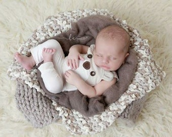Chunky Yarn Basket Stuffer for Boys of Girls Photo Shoots, taupe and ivory, handmade, photo prop, layering by Lil Miss Sweet Pea Boutique