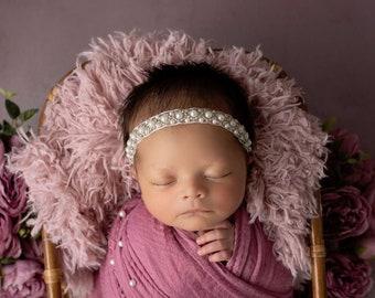 Pearl Hand Beaded Headband (1/2 inch) perfect for newborns for photos, pearl headband, Christening, Baptism, bebe, Lil Miss Sweet Pea