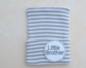 Little Brother BOYS Newborn Hospital Hat, infant beenie, hospital take home hat, boys sports hat, beenie, boy beanie, by Lil Miss Sweet Pea