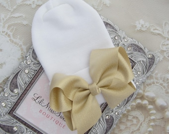 NEW STYLE - Round Top Newborn Hospital Hat with gold satin bow, double ply, hospital hat, newborn baby hat, Lil Miss Sweet Pea Boutique