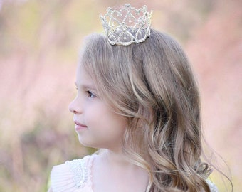 Large SILVER Rhinestone Crown for newborn, toddler, preteen or maternity photo shoots, cake topper, bebe, infant, by Lil Miss Sweet Pea