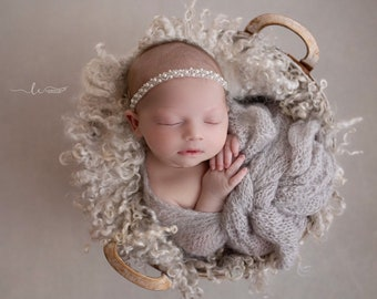 Pearl Headband - hand beaded off white pearls and clear beads, newborn photo shoots, Christening, Baptism, Lil Miss Sweet Pea