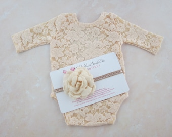 Newborn Lace Romper in Dark Ivory with a hint of peach OR in White. Unlined, AND/OR matching flower headband, bebe, Lil Miss Sweet Pea