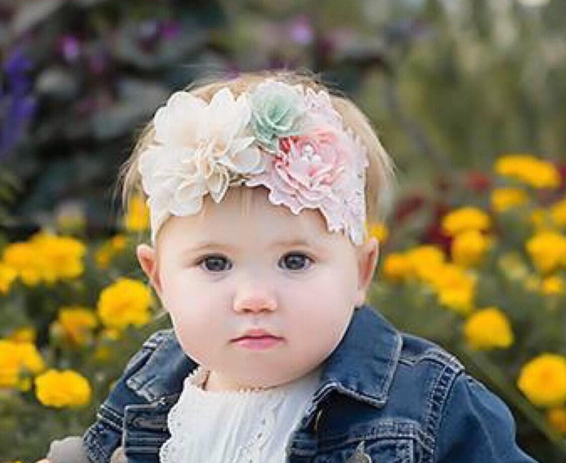 newborn headband You choose the headband baptism headband Baby headband Ivory baby head band toddler headband Baby Flower Headband