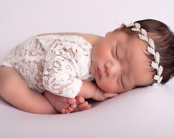 Newborn Lace Romper (unlined) AND/OR rhinestone leaf headband, photoshoot, bebe, baby bling, bandeau bebe, Lil Miss Sweet Pea