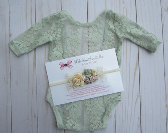 Sage Newborn Lace Romper, choice of Ivory Ribbon Bow on the back, AND/OR matching headband, newborn photos, foto bebe, by Lil Miss Sweet Pea