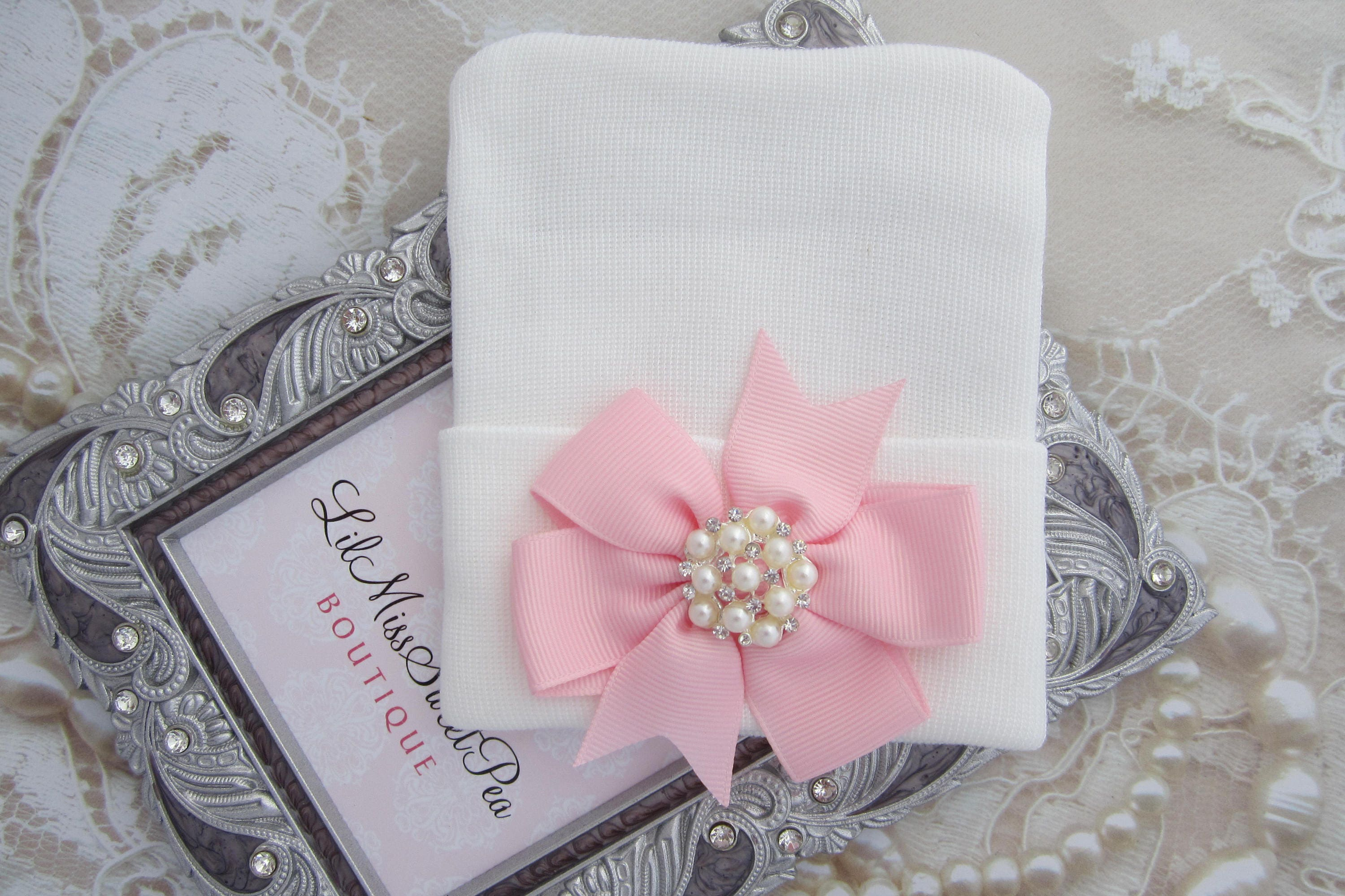 White Newborn Hospital Hat with a Pink Grosgrain Bow Adorned with a ...
