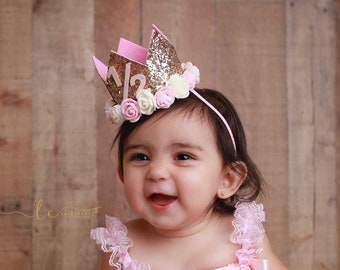 Birthday Crown, 1/2 or 1st Birthday, birthday photo prop, by Lil Miss Sweet Pea