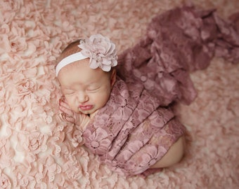 "Mauve embroidered vintage lace swaddle wrap and/or 3"" chiffon flower headband for newborn photo shoots, bebe, foto by Lil Miss Sweet Pea"
