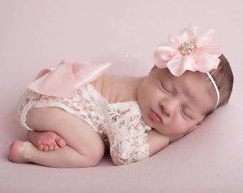 """White Lace Romper with large bow, unlined w/sleeves, AND/OR 4"""" pink satin flower headband, bebe bandeau, bebe foto, Lil Miss Sweet Pea"""