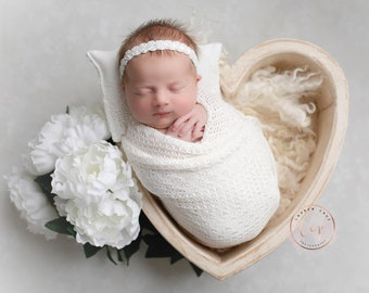 Textured Off-white Knit Swaddle Wrap for Newborn Photos AND/OR Matching Handbeaded Headband and/or pillow, Sweet Pea