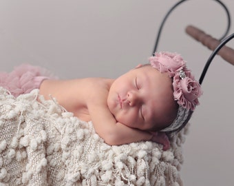 Vintage Rose Shabby Headband on Ivory Stretch Lace, best seller, baby headband, photo shoot, by Lil Miss Sweet Pea