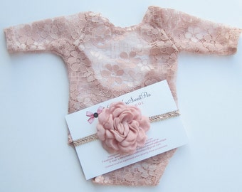 Newborn Lace Romper, Dusty Rose OR Dark Ivory with Peach tones, unlined, AND/OR matching flower headband, Lil Miss Sweet Pea