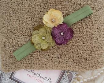 Latte Knit Wrap AND/OR Matching 3 x 2.5 Hydrangea Flower Headband, photo shoots, newborn swaddle wrap, bebe foto, Lil Miss Sweet Pea