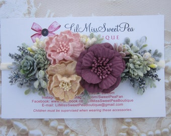 Cactus collection, succulents & greenery with pretty flowers on a stretchy nylon headband, one size, newborn to adult by Lil Miss Sweet Pea