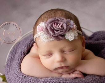 Couture headband, plum or sage, for newborn or older girls photos, fabric and paper flowers, by Lil Miss Sweet Pea