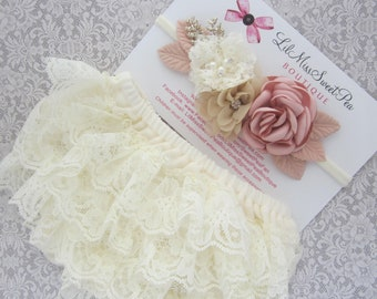 Ivory lace diaper cover/bloomers AND/OR Couture Flower Headband, newborn photos, bebe bandeau, Lil Miss Sweet Pea