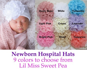 Choice of 9 color flowers on white newborn hospital hat, baby hat, hat with flower, baby flower hat, infant, shower gift, Lil Miss Sweet Pea