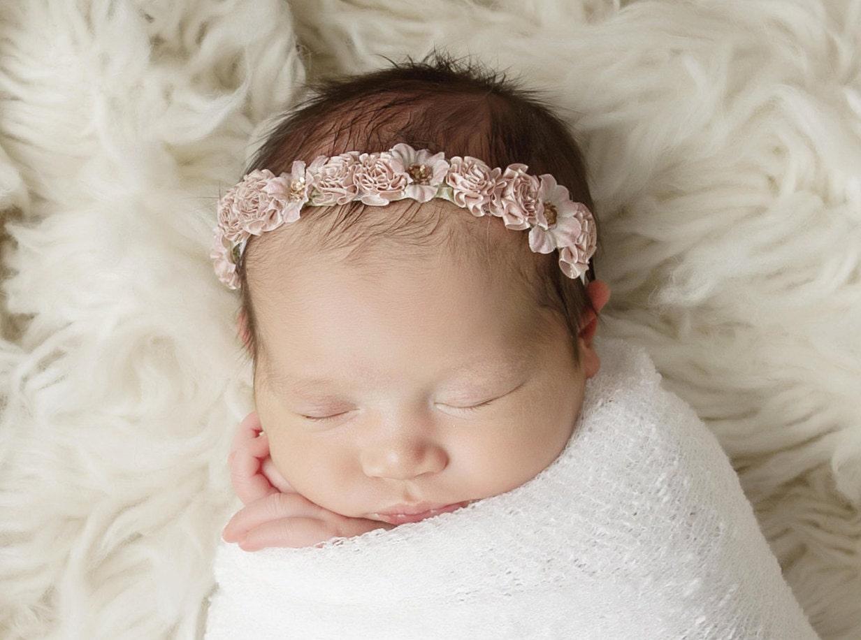 White Newborn Baby Swaddle Wrap AND OR Antique Mauve Flower Halo Headband 81eb538451e