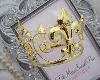 GOLD Rhinestone Baby Boy or Girl Crown for toddler, newborn or maternity photo shoots, cake topper, bebe, infant, by Lil Miss Sweet Pea