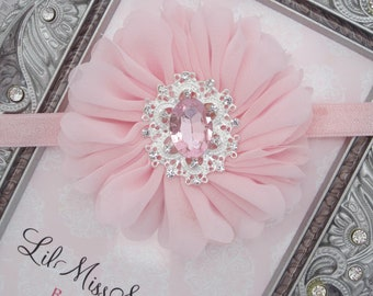 """Pink Petal Flower on 3/8"""" Soft Stretch Lace Elastic or Alligator Clip with pretty vintage rhinestone center, bandeau, by Lil Miss Sweet Pea"""