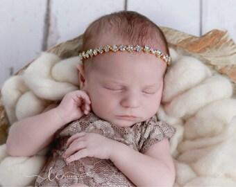 Gold and Iridescent Rhinestone Tieback or Headband, Photo Prop, flower girl, bridesmaid, bride, baby bling, bandeau bebe, Lil Miss Sweet Pea