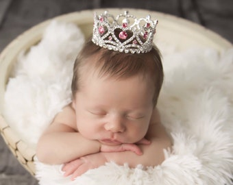 Rhinestone Hearts Baby Crown, available with pink or clear rhinestones, newborn, maternity, baby crown, Crystals, Lil Miss Sweet Pea