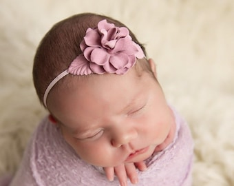 Mauve Flower headband with skinny elastic for newborns, photographer prop, prop shop, newborn baby, bebe fotografia, Lil Miss Sweet Pea