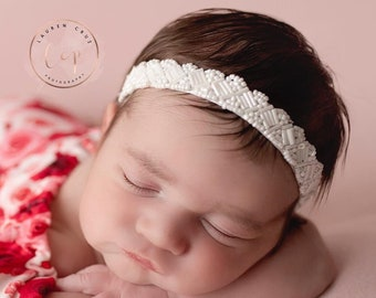 White Beaded Headband for newborns, baby headband, newborn photos, christening, baptism, Lil Miss Sweet Pea