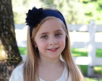 Navy Lace and Sparkle Flower Headband or Clip, fall colors, stretch lace headband, navy lace, by Lil Miss Sweet Pea Baby Boutique
