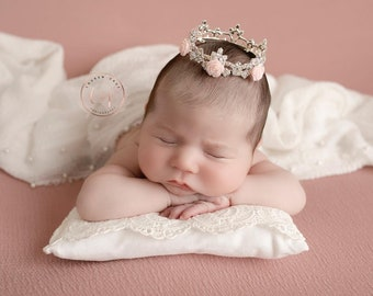 Newborn crown with pink roses AND/OR white lace pillow. Buy any piece or a set, Lil Miss Sweet Pea