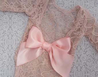 Pink Champagne Newborn Lace Romper AND/OR rose gold rhinestone headband, newborn photos, foto bebe, by Lil Miss Sweet Pea