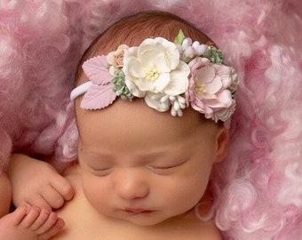 Couture Pink & Cream Mulberry Flower Headband, baby photos, newborn photoshoot, photographer headband, by Lil Miss Sweet Pea