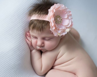 Peachy Pink Soft Petal Peony Headband for all ages but works great for newborn photo shoots, by Lil Miss Sweet Pea