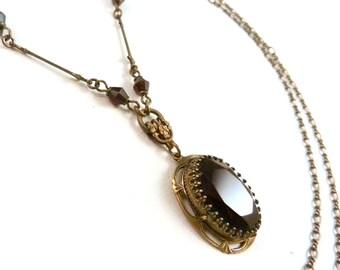 Art Nouveau Dark Red Black Jewel Necklace 583cc1aa1096