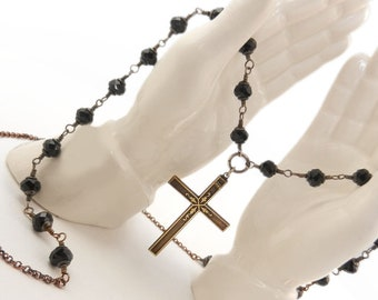 Cross Pendant Necklace, Beaded Rosary Style Chain, Handwired beads, Black Long Chain Necklace