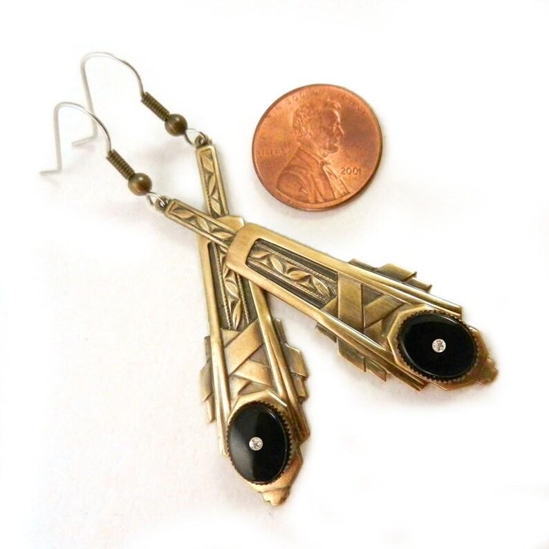 Long Vintage Style Art Deco Crystal Diamond Drop Earrings Art Deco Black Stone Earrings