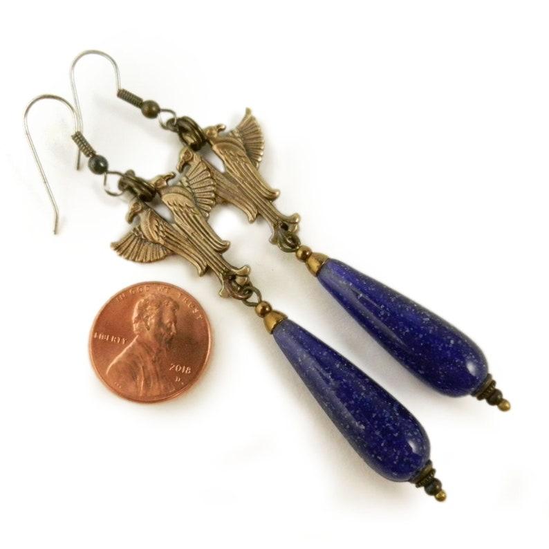 Egyptian Horus Earrings Egyptian Long Blue Drop Earrings Golden Egyptian Revival Jewelry