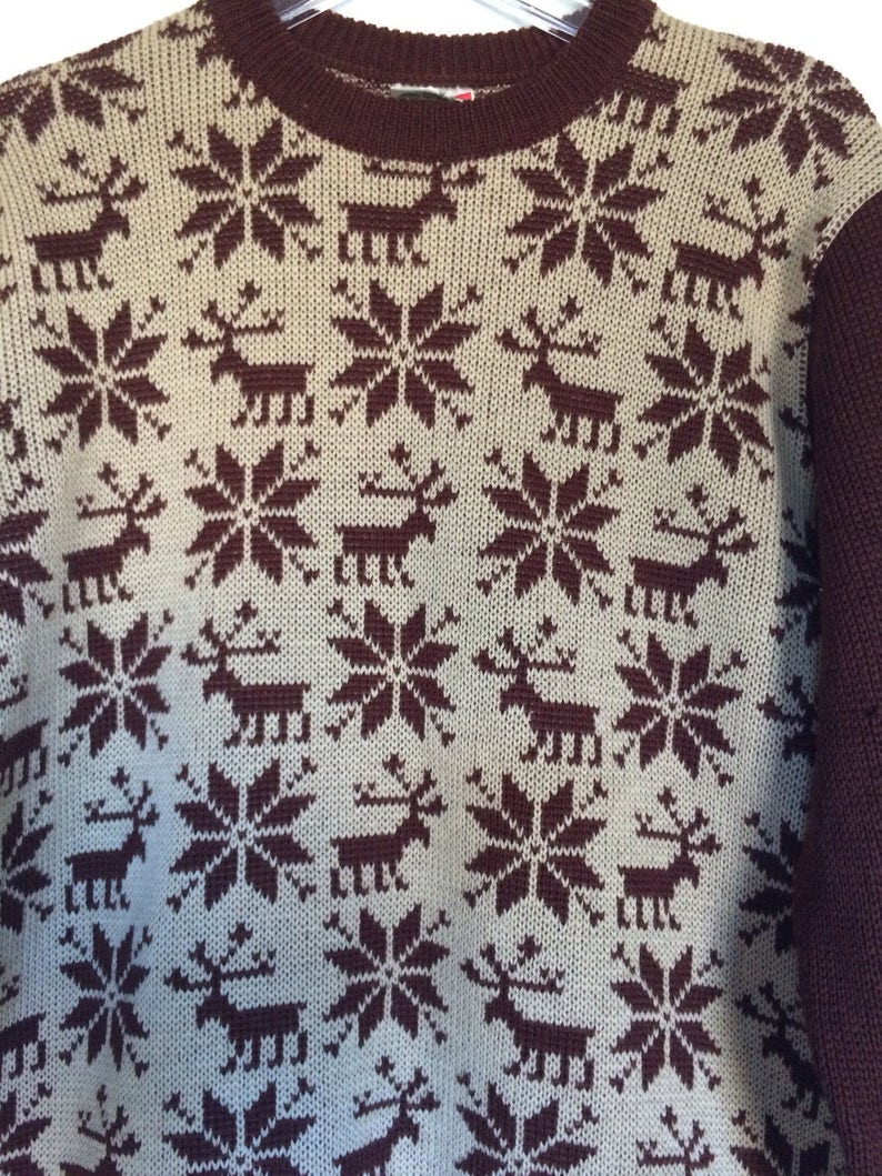 9e010b4c3a95e2 Vintage Alpine Ski Sweater. Reindeer Heavy Wool Made in West