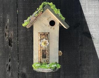 Birdhouses Handmade Wood Bird House with Mosaic Tile Stone, Antique Door Plate & Glass Doorknob, Garden Birds Nest Box, Item #600415336