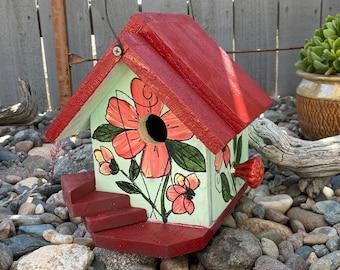 BIRDHOUSE, Rustic Birdhouse, Wooden Birdhouse, Handmade Birdhouse, Bird House Functional For Birds, Green Outdoor Birdhouse, Hand Painted