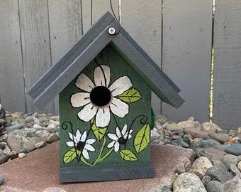Painted Birdhouse Garden Art, Functional Bird House, Outdoor Birdhouse, Hanging Bird House, Hand Painted Flower Design, Green Birdhouse