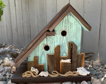 Large Birdhouse, Rustic Unique Birdhouse, Cedar Wooden Birdhouse, Bird House Post Mount Condo Birdhouse, Coastal Birdhouse, Garden Birdhouse