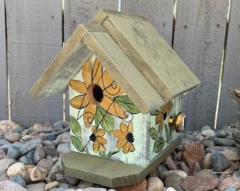 BIRDHOUSE, Rustic Birdhouse, Wooden Birdhouse, Green & Gold Handmade Birdhouse, Bird House Functional For Birds, Outdoor Birdhouse,