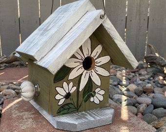BIRDHOUSE, Rustic Birdhouse, Wooden Birdhouse, Green & White Handmade Birdhouse, Bird House Functional For Birds, Outdoor Birdhouse,