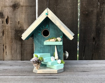 Birdhouse Functional Bird House Outdoor For Garden Cavity Nesting Birds, Vintage Blue Seashell Ocean Cottage Birdhouses, Item #604831302
