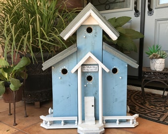 Custom Birdhouse, SPECIAL ORDER, Functional Condo Bird Houses For Post Mount With Five Chambers, Birdhouses Built By Michele McKee-Orsini